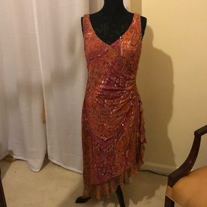 Kay Unger Silk Sequined Dress